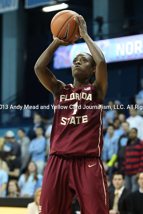 31 January 2013: Florida State's Morgan Toles. The University of North Carolina Tar Heels played the Florida State University Seminoles at Carmichael Arena in Chapel Hill, North Carolina in an NCAA Division I Women's Basketball game. UNC won the game 72-62.