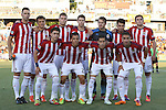 14 June 2014: Chivas USA starters. Front row (left to right): Marco Delgado, Donald Toia, Eric Avila, Leandro Barrera (ARG). Back row (left to right): Bobby Burling, Agustin Pelletieri (ARG), Eriq Zavaleta, Tony Lochhead (NZL), Dan Kennedy, Carlos Alvarez, Ryan Finley. The Carolina RailHawks of the North American Soccer League played Chivas USA of Major League Soccer at WakeMed Stadium in Cary, North Carolina in the fourth round of the 2014 Lamar Hunt U.S. Open Cup soccer tournament. The RailHawks advanced by winning a penalty kick shootout 3-2 after the game had ended in a 1-1 tie after overtime.