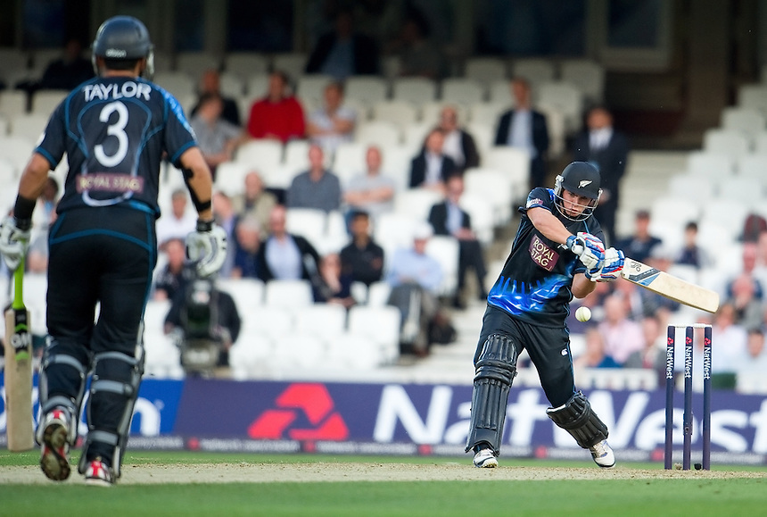 New Zealand's Tom Lathan hitting out against England in the first T20<br /> <br />  (Photo by Ashley Western/CameraSport) <br /> <br /> International Cricket - NatWest International T20 Series - England v New  Zealand - Tuesday 25th June 2013 - The Kia Oval, London <br /> <br />  &copy; CameraSport - 43 Linden Ave. Countesthorpe. Leicester. England. LE8 5PG - Tel: +44 (0) 116 277 4147 - admin@camerasport.com - www.camerasport.com