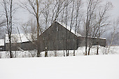 Old barn, winter scenic, Quebec Canada