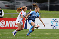 Piscataway, NJ - Sunday April 30, 2017: Brittany Ratcliffe and Sarah Killion during a regular season National Women's Soccer League (NWSL) match between Sky Blue FC and FC Kansas City at Yurcak Field.