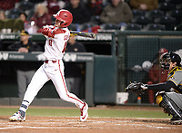 NWA Democrat-Gazette/ANDY SHUPE<br /> Arkansas designated hitter Matt Goodheart doubles Friday, March 15, 2019, to lead off the fourth inning against Missouri at Baum-Walker Stadium in Fayetteville. Visit nwadg.com/photos to see more photographs from the game.
