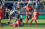 Gurthro Steenkamp of Toulouse makes a break - European Rugby Champions Cup - Bath Rugby vs Toulouse - Recreation Ground Bath - Season 2014/15 - October 25th 2014 - <br /> Photo Malcolm Couzens/Sportimage