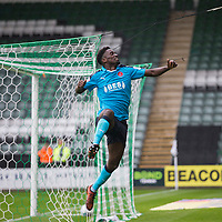 Jordy Hiwula of Fleetwood Town celebrates scoring his side's first goal during the Sky Bet League 1 match between Plymouth Argyle and Fleetwood Town at Home Park, Plymouth, England on 7 October 2017. Photo by Mark  Hawkins / PRiME Media Images.