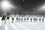 Uppsala 2014-01-12 Bandy  IK Sirius - GAIS Bandy :  <br />  GAIS Bandy spelare jublar i sn&ouml;v&auml;dret p&aring; Studenternas IP efter matchen <br /> (Foto: Kenta J&ouml;nsson) Nyckelord:  jubel gl&auml;dje lycka glad happy