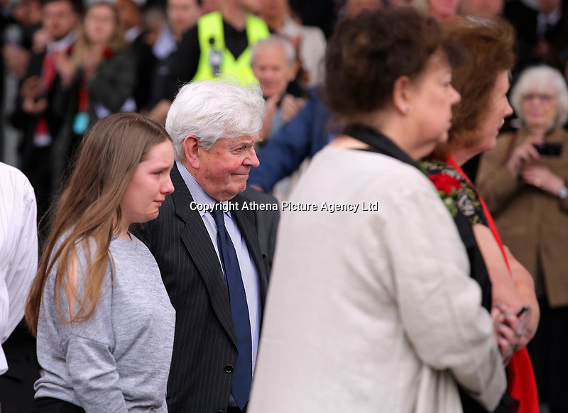 """Pictured: Prys Morgan (C) the brother of Rhodri Morgan with wife Julie (R) and other relatives Wednesday 31 May 2017<br />Re: The funeral for former first minister Rhodri Morgan has taken place in the Senedd in Cardiff Bay.<br />The ceremony, which was open to the public, was conducted by humanist celebrant Lorraine Barrett.<br />She said the event was """"a celebration of his life through words, poetry and music"""".<br />Mr Morgan, who died earlier in May aged 77, served as the Welsh Assembly's first minister from 2000 to 2009.<br />He was credited with bringing stability to the fledgling assembly during his years in charge.<br />It is understood Mr Morgan had been out cycling near his home when he died."""