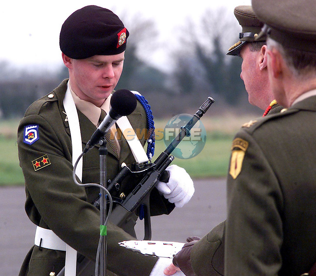 Gerald Byrne from Ballsgrove of the 63rd Recruit Platoon recieving his award for Best Shot on the Steyr Rifle at the passing out parade in Gormanstown Army..Picture Paul Mohan Newsfile