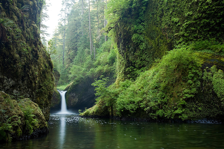 The Punchbowl on Eagle Creek is located near the Columbia River Gorge of Oregon