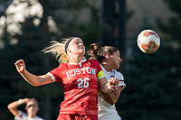 NEWTON, MA - AUGUST 29: McKenna Kennedy #26 of Boston University  and Jade Ruiters #13 of Boston College battle for head ball during a game between Boston University and Boston College at Newton Campus Field on August 29, 2019 in Newton, Massachusetts.