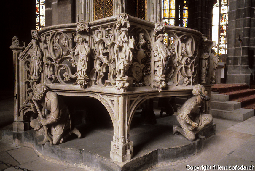 Nuremberg: St. Lorenz-Kirche. Ciborium by Adam Krafft, 1493-96. German stone sculptor.  The German for ciborium is sacramenthaus ciborium--canopied shrine, receptacle for reservation of the Eucharist.