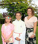 Aoife and Jackie with Shane Coll during Confirmation for Scoil Sporaid Naoimh Laytown on Thursday 21st May 2015.<br /> Picture:  Thos Caffrey / www.newsfile.ie