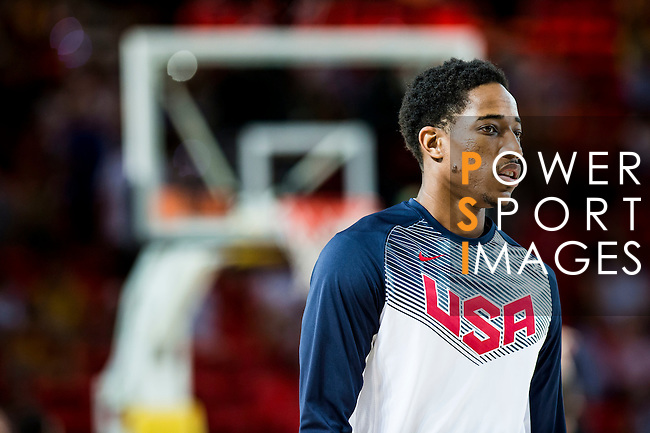 De Mar DeRozan of United States of America looks on during FIBA Basketball World Cup 2014 group C between United States of America vs New Zeland  on September 02, 2014 at the Bilbao Arena stadium in Bilbao, Spain. Photo by Nacho Cubero / Power Sport Images
