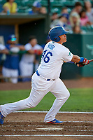 Alvaro Rubi (46) of the Ogden Raptors bats against the Grand Junction Rockies at Lindquist Field on June 25, 2018 in Ogden, Utah. The Raptors defeated the Rockies 5-3. (Stephen Smith/Four Seam Images)