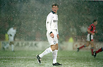 Teddy Sheringham of Tottenham looks on as the snow falls, the match was abandoned  - Premier League - Nottingham Forest v Tottenham  - City ground - Nottingham - England -  19th February1996 - Picture Sportimage