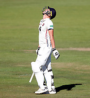 Harry Podmore is disconsolate after being given out during the County Championship Division 2 game between Kent and Leicestershire (Day 2) at the St Lawrence ground, Canterbury, on Mon July 23, 2018