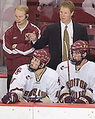 John Hegarty, Mike Brennan, Greg Brown, Brett Motherwell - The Boston College Eagles and Ferris State Bulldogs tied at 3 in the opening game of the Denver Cup on Friday, December 30, 2005, at Magness Arena in Denver, Colorado.  Boston College won the shootout to determine which team would advance to the Final.