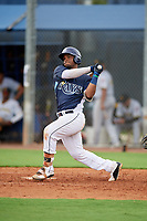 GCL Rays Luis Perez (24) bats during a Gulf Coast League game against the GCL Pirates on August 7, 2019 at Charlotte Sports Park in Port Charlotte, Florida.  GCL Rays defeated the GCL Pirates 5-3 in the second game of a doubleheader.  (Mike Janes/Four Seam Images)
