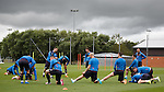 Gary Sherriff gets the players stretching les than 24 hours after playing