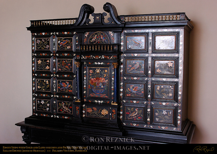 Stipo Cabinet Ebony Lapis Lazuli Pietre Dure Apartment of the Elements Palazzo Vecchio Florence