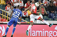 BOGOTA - COLOMBIA, 07-09-2019: Maicol Balanta del Santa Fe disputa el balón con Felipe Banguero Millan de Millonarios durante partido entre Independiente Santa Fe y Millonarios por la fecha 10 de la Liga Águila II 2019 jugado en el estadio Nemesio Camacho El Campín de la ciudad de Bogotá. / Maicol Balanta of Santa Fe vies for the ball with Felipe Banguero Millan of Millonarios during match between Independiente Santa Fe and Millonarios for the date 10 as part of the Aguila League II 2019 played at Nemesio Camacho El Campín stadium in Bogota city. Photo: VizzorImage / Gabriel Aponte / Staff