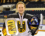 09.01.2020, BLZ Arena, Füssen / Fuessen, GER, IIHF Ice Hockey U18 Women's World Championship DIV I Group A, <br /> Siegerehrung, <br /> im Bild das deutsche Team feiert seinen Erfolg, Lilly Uhrmann (GER, #25) mit Pokal und Heim (Aufschrift: An Scheiss muas!)<br /> <br /> Foto © nordphoto / Hafner
