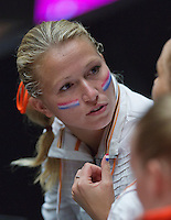 The Netherlands, Den Bosch, 20.04.2014. Fed Cup Netherlands-Japan, Michaella Krajicek has the Dutch flag painted on her face<br /> Photo:Tennisimages/Henk Koster