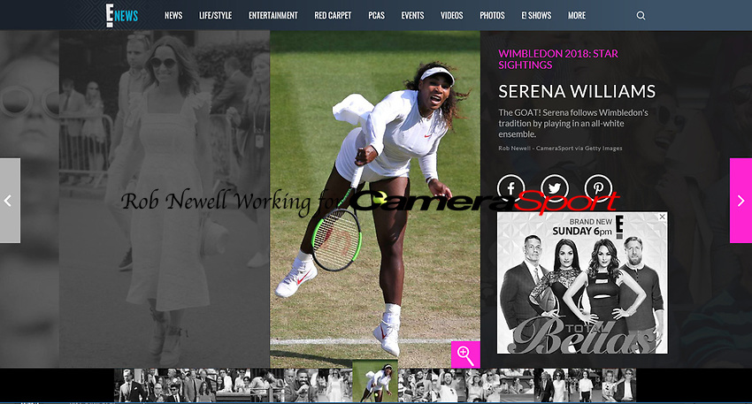 E News Website - 01-Aug-2018 - 'SERENA WILLIAMS - The GOAT! Serena follows Wimbledon's tradition by playing in an all-white ensemble' - Photo by Rob Newell (Camerasport via Getty Images)