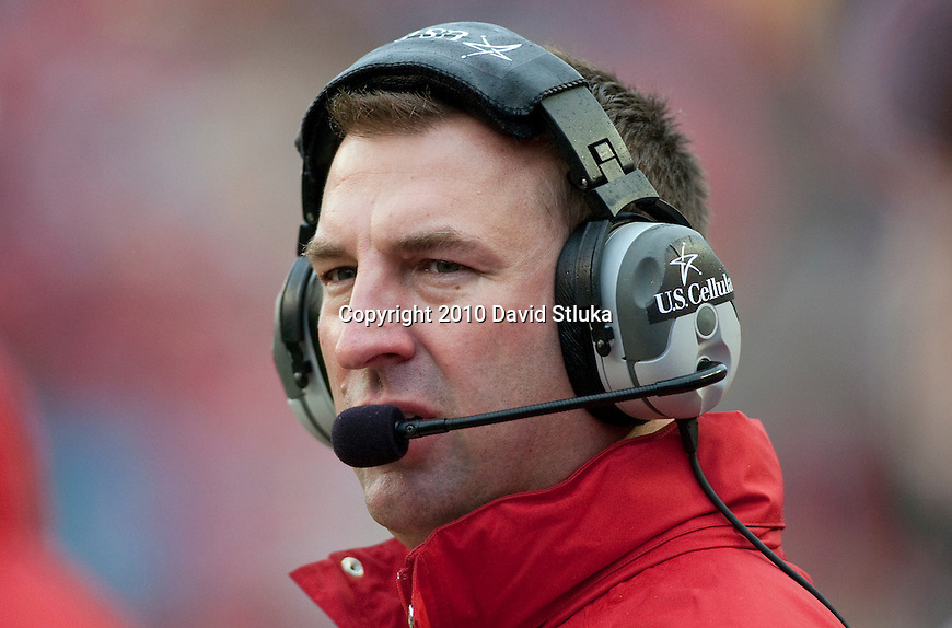 Wisconsin Badgers head coach Bret Bielema looks on during an NCAA college football game against the Indiana Hoosiers on November 13, 2010 at Camp Randall Stadium in Madison, Wisconsin. The Badgers won 83-20. (Photo by David Stluka)