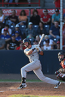 Justin Pacchioli (4) of the Tri-City Dust Devils bats during a game against the Vancouver Canadians at Nat Bailey Stadium on July 23, 2015 in Vancouver, British Columbia. Tri-City defeated Vancouver, 6-4. (Larry Goren/Four Seam Images)