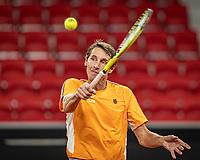 The Hague, The Netherlands, Februari 4, 2020,  Sportcampus , FedCup  Netherlands - Balarus, Dutch team practise, Captain Paul Haarhuis (NED)<br /> Photo: Tennisimages/Henk Koster