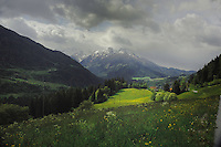 Dramatic image of mountains, clouds and the alpine countryside, PItztal Valley. Tyrol, Austria.