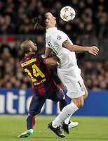 FC Barcelona's Javier Mascherano (l) and Paris Saint-Germain's Zlatan Ibrahimovic during Champions League 2014/2015 match.December 10,2014. (ALTERPHOTOS/Acero) /NortePhoto