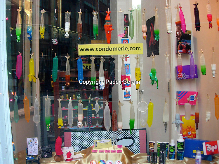 A shop selling many different and amusing shaped and coloured condoms in Amsterdam, Netherlands.<br />