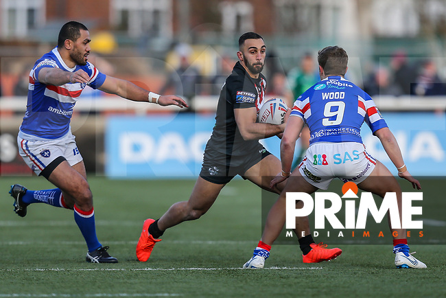 Eloi PELISSIER of London Broncos during the Betfred Super League match between London Broncos and Wakefield Trinity at Castle Bar , West Ealing , England on 3 February 2019. Photo by David Horn.