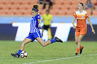 Houston, TX - Wednesday June 28, 2017: Angela Salem takes a shot at the Houston goal during a regular season National Women's Soccer League (NWSL) match between the Houston Dash and the Boston Breakers at BBVA Compass Stadium.
