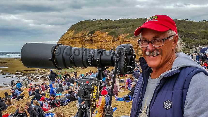 BELLS BEACH, Victoria/AUS (Monday, April 3, 2016) - Peter 'Joli' Wilson (AUS) shooting at Bells Beach.<br />  Action at the Rip Curl Pro Bells Beach, the second stop on the World Surf League (WSL) Championship Tour (CT), continued today with Matt  Wilkinson (AUS) defeating Jordy Smith (ZAF) in the 40 minute final.. <br />  The surf was in the 8' plus range all morning and the contest ran from the last two heats of Round Five through to the final.<br /> Wilkinson was the first goofy footer to win the event in the past 17 years and has now gone back to back with WCT wins after taking the first contest of the year on the Gold Coast.<br /> Sentimental favourite  and defending champion Mick Fanning (AUS was defeated by Smith in the Semi's. <br /> <br /> Bells Beach has been hosting surfing tournaments for more than 50 years now, making it the most renowned spot on the raw and rugged southern coast of Victoria, Australia. The list of  Rip Curl Pro event champions is a veritable who's who of surfing icons, including many world champions.<br /> <br /> Surfing's greats have a way of dominating Bells. Mark Richards, Kelly Slater, and Mick Fanning all have four Bells trophies; Michael Peterson and Sunny Garcia, three; While Simon Anderson, Tom Curren, Joel Parkinson, Andy Irons, and Damien Hardman each grabbed a pair.<br /> <br /> The story is similar on the women's side. Lisa Andersen and Stephanie Gilmore have four Bells titles; Layne Beachley and Pauline Menczer, three; while Kim Mearig and Sally Fitzgibbons each have two.<br /> <br /> The 2016 event is about to kick off tomorrow and there was a packed warm up session at Bells this morning. <br /> Photo: mrsjoli