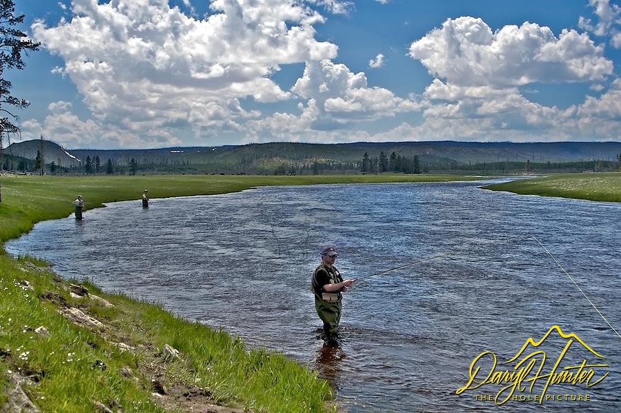 Fly-fishing YellowstoneFly fisherman, Firehole river, Yellowstone National Park