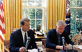 United States President Bill Clinton and US Vice President Al Gore deliver the weekly radio address from the Oval Office of the White House in Washington, DC on August 9, 1997.<br /> Mandatory Credit: Barbara Kinney / White House via CNP