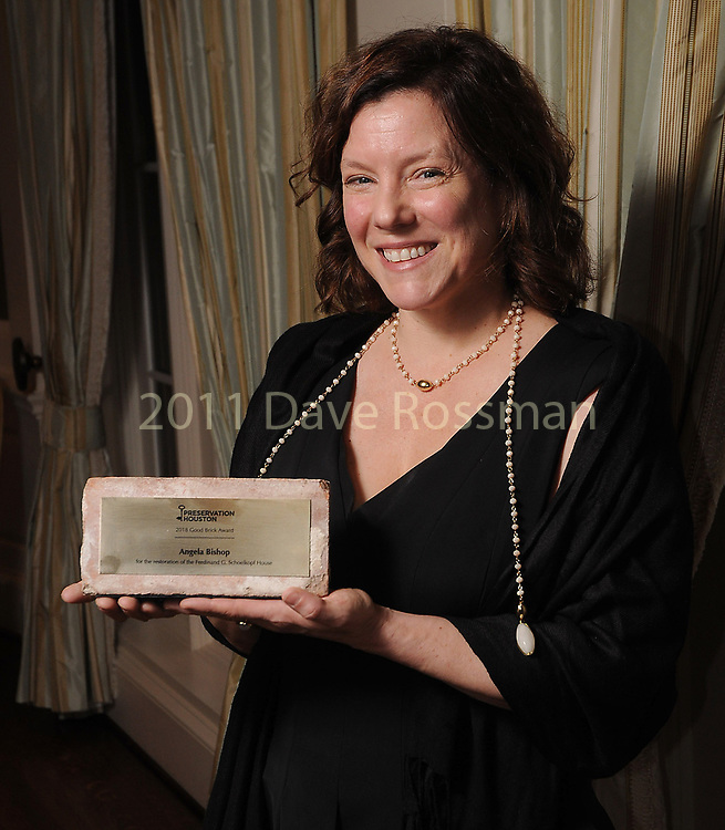 """Winner Angela Bishop at Preservation Houston's """"The Cornerstone Dinner""""  presenting the 2018 Good Brick Awards at the River Oaks Country Club Friday March 02,2018. (Dave Rossman Photo)"""