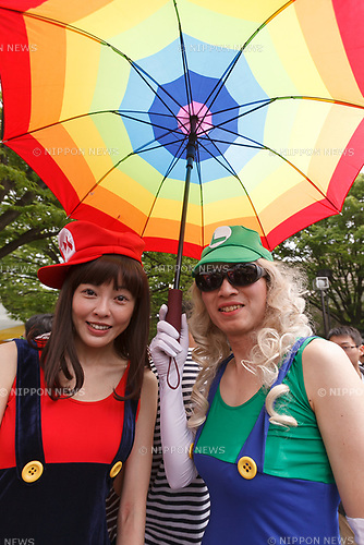 Supporters of the lesbian, gay, bisexual and transgender community (LGBT) pose for a photograph at Yoyogi Park during the Tokyo Rainbow Pride 2017 on May 7, 2017, Tokyo, Japan. Organizers claim that 6000 LGBT supporters wearing colorful costumes participated in the parade starting from Yoyogi Park. (Photo by Rodrigo Reyes Marin/AFLO)