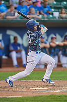 Marcus Chiu (13) of the Ogden Raptors bats against the Billings Mustangs at Lindquist Field on August 17, 2018 in Ogden, Utah. Billings defeated Ogden 6-3. (Stephen Smith/Four Seam Images)
