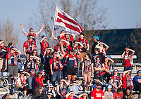 Boyds, MD - April 16, 2016: Washington Spirit fans. The Washington Spirit defeated the Boston Breakers 1-0 during their National Women's Soccer League (NWSL) match at the Maryland SoccerPlex.