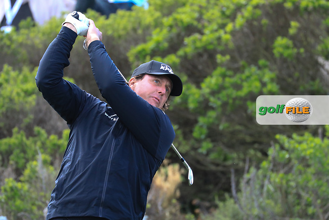 Phil Mickelson (USA) in action at Spyglass Hill Golf Course during the second round of the AT&T Pro-Am, Pebble Beach Golf Links, Monterey, USA. 08/02/2019<br /> Picture: Golffile | Phil Inglis<br /> <br /> <br /> All photo usage must carry mandatory copyright credit (© Golffile | Phil Inglis)