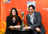 Mia Hamm, Steffi Jones. Various speakers took the stage at the FIFA Women's World Cup 2011 promotional tour at the Westin Grand in Washington, DC...