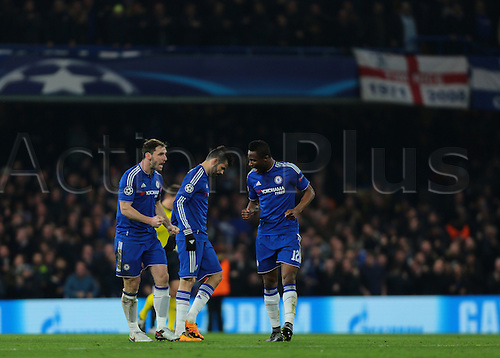 09.03.2016. Stamford Bridge, London, England. Champions League. Chelsea versus Paris Saint Germain. Chelsea Forward Diego Costa (centre) makes it 1-1, and Chelsea Midfielder Mikel John Obi and Chelsea Defender Branislav Ivanović celebrate with him