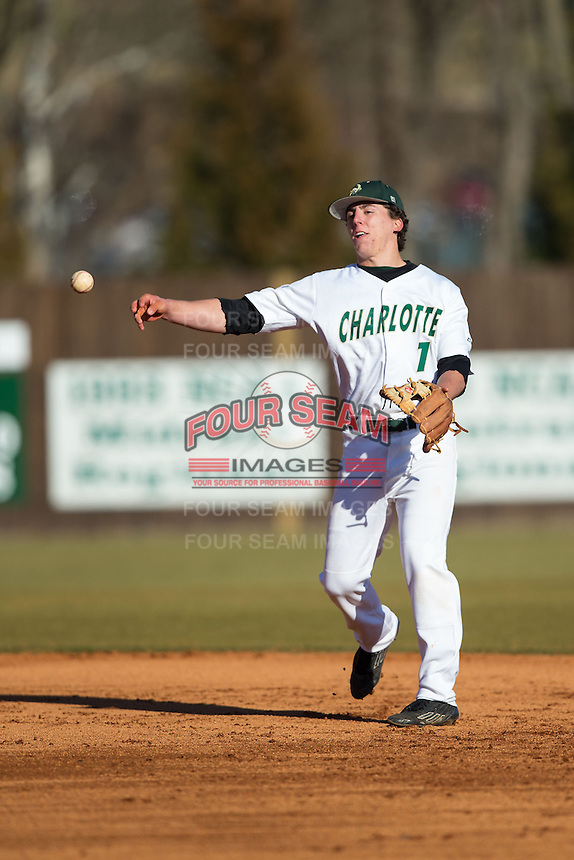 Charlotte 49ers second baseman TJ Nichting (1) makes a throw to first base against the Rice Owls at Hayes Stadium on March 6, 2015 in Charlotte, North Carolina.  The Owls defeated the 49ers 4-2.  (Brian Westerholt/Four Seam Images)