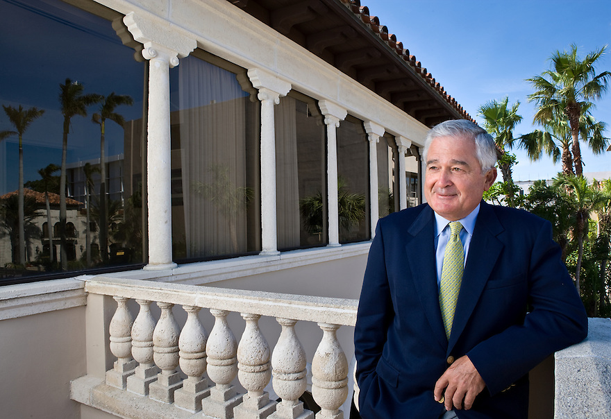 Lou Gerstner, head of The Carlyle Group, photographed at his Palm Beach, Florida offices on January 25, 2005  for Business Week Magazine