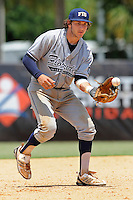5 June 2010:  FIU's Garrett Wittels (10) fields a ground ball as the Dartmouth Green Wave defeated the FIU Golden Panthers, 15-9, in Game 3 of the 2010 NCAA Coral Gables Regional at Alex Rodriguez Park in Coral Gables, Florida.  With his first-inning double, Wittels extended his hitting streak to 56 games, moving within two games of Oklahoma State's Robin Ventura, who holds the NCAA Division I record with a 58-game hitting streak in 1987.
