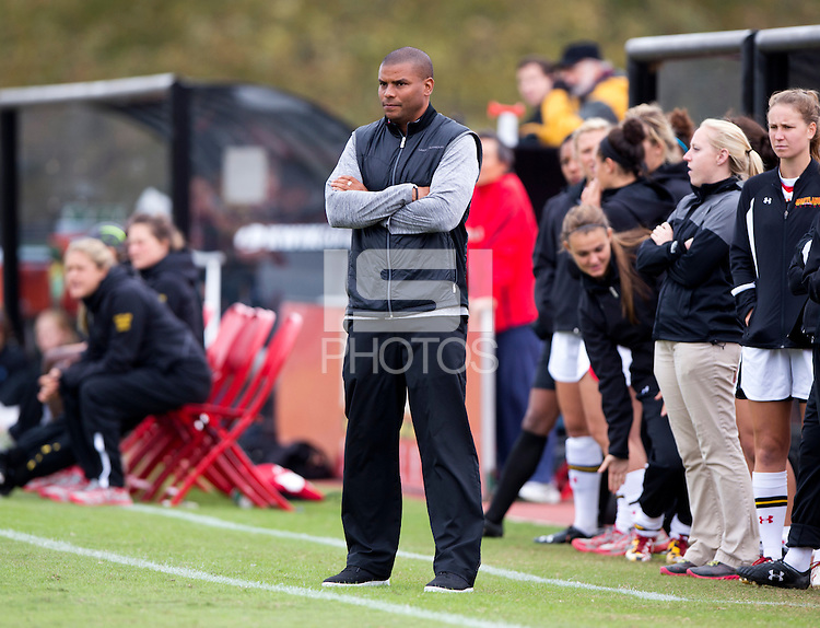Maryland head coach Jonathan Morgan watches his team at Ludwig Field on the campus of the University of Maryland in College Park, MD. DC. Duke defeated Maryland, 2-1.
