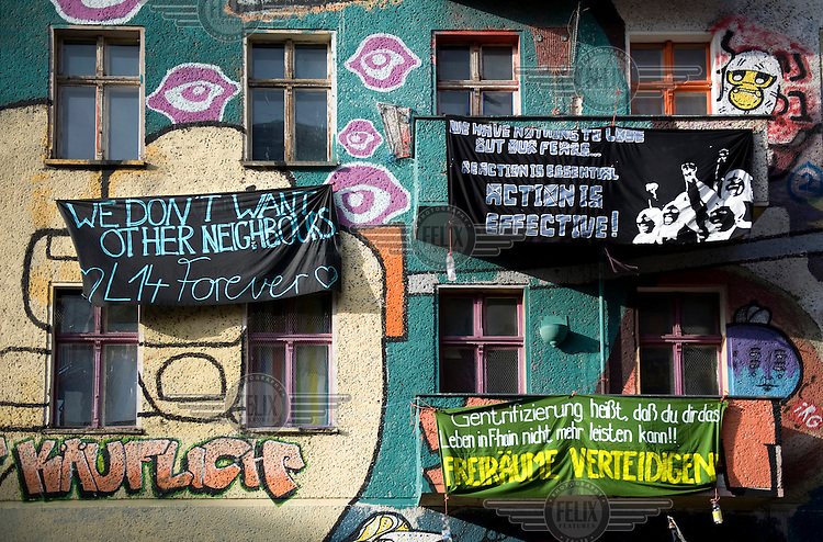 The front of  Liebigstrasse 14, a squatted building that is one of Berlin's longest running autonomous housing projects. After 20 years of occupation, and a four year legal battle, the squatters were due to be evicted on 2 February 2011.